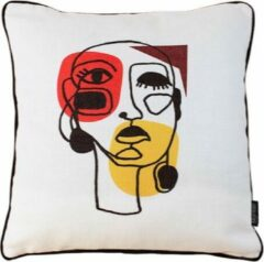 Creme witte Gek op Kussens! Jacquard Face Abstract Kussenhoes | Polyester - Jacquard Stof | 45 x 45 cm