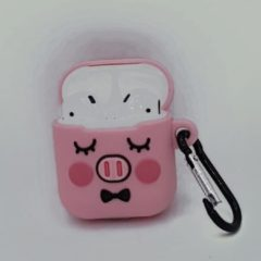 Roze GSMSCHERM Kapot © Cartoon Silicone Case voor Apple Airpods - cute piggy sleep - met karabijn