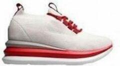 Ewoll Dames Sneaker met hoge zool en elastische sluiting - wit / rood - Maat 37