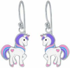 Oorbellen meisje | Kinderoorbellen meisje zilver | Eenhoorn oorbellen | Zilveren oorhangers met eenhoorn, roze, blauw en paars | WeLoveSilver