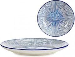 Arte Regal Borden blauw gestreept | Effen | Diepe | Schaal EN | Dessert | 4-delige set borden