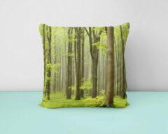 Groene ByCristianne Sierkussen - Bos - Boslandschap - Natuur - Woon accessoire - 60 x 60 cm
