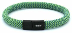 MR. JACOB Boris groenblauwe touw armband met kliksluiting