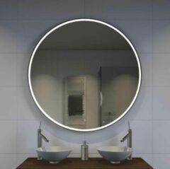 Grijze Designspiegels.nl Ronde badkamerspiegel met LED verlichting, verwarming, touch sensor, dimfunctie en mat zwart frame 120x120 cm