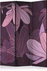 Paarse Kamerscherm - Scheidingswand - Vouwscherm - Dreamy flowers [Room Dividers] 135x172 - Artgeist Vouwscherm