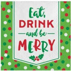 Groene Witbaard Servetten kerst be merry (25x25cm, 16st)