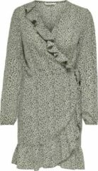 Groene ONLY ONLCARLY L/S WRAP SHORT DRESS NOOS WVN Dames Jurk - Maat 36