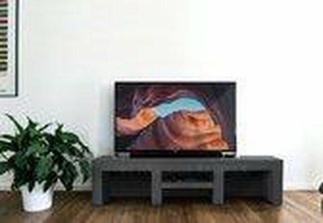 Afbeelding van Antraciet-grijze Betonlook TV-Meubel open vakken met legplank | Antraciet | 200x40x40 cm (LxBxH) | Betonlook Fabriek | Beton ciré