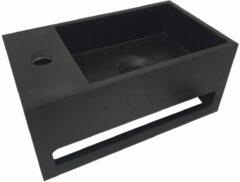 Mueller Solid Surface mat zwarte fontein met handdoekhouder links