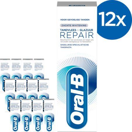 Afbeelding van Oral-B Tandvlees & Glazuur Repair Zachte Whitening - Voordeelverpakking 12x75 ml - Tandpasta