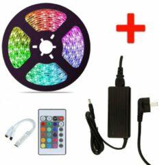 Zwarte Groenovatie RGB LED Strip Set - 5 Meter - 14.4 Watt/meter - Waterdicht IP65 - Met Adapter & Controller