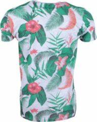 Grijze New Republic Re-gen heren t-shirt tropical print