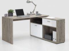 Schreibtisch Sandeiche/ weiss hochglanz FMD Diego 1