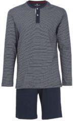 TOM TAILOR TOM TAILOR Herren Pyjama mit gestreiftem Oberteil, Herren, blue-dark-horizontal strip, Größe: 50/M, blau, gestreift, Gr.50/M