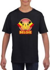 Shoppartners Zwart Belgisch kampioen t-shirt kinderen - Belgie supporter shirt jongens en meisjes M (134-140)