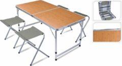 Grijze Relaxwonen | Campingtafel met 4 stoelen | 120 x 60 x 40cm