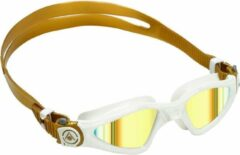 Aqua Sphere Kayenne Small - Zwembril - Volwassenen - Gold Titanium Mirrored Lens - Wit/Goud