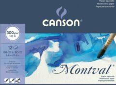 Montal Montval aquarelpapier, wit met fijne korrel 300 g/m?, ft 24 x 32 cm, blok met 12 vellen