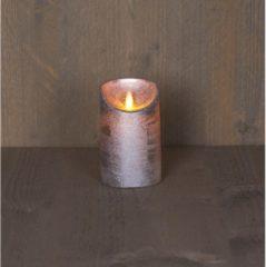 Batterijverlichting kaars wax rustiek met bewegende vlam zilver 12.5 cm Anna's Collection