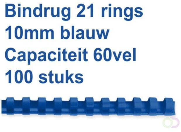 Afbeelding van Fellowes bindruggen, pak van 100 stuks, 10 mm, blauw