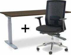 Lineaflex MRC Zit-sta bureau elektrisch verstelbaar + ERGO Bureaustoel | ARBO PRO Thuiswerkset | frame bureau aluminium - bureaublad bruin eiken | 120x80 cm