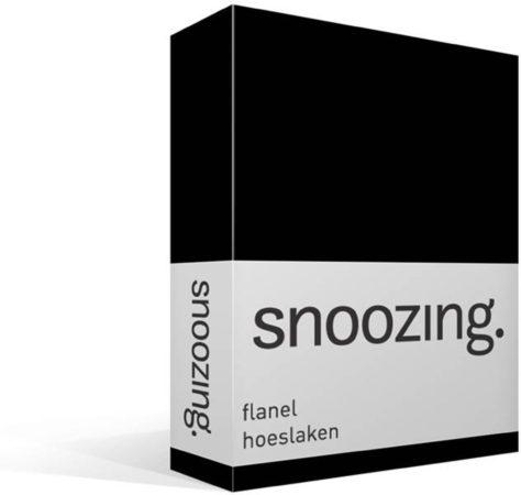 Afbeelding van Snoozing - Flanel - Hoeslaken - Tweepersoons - 140x200 cm - Zwart