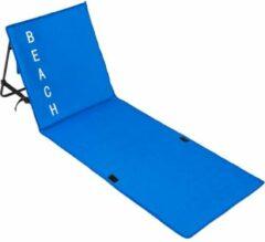 TecTake - Strandmat met leuning blauw (LxBxH): 150 x 55 x 46 cm - 402441