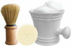 The Shave Factory Shave Set Wit. Porceleinen Scheerkom, Scheerkwast en Shaving Soap, traditioneel Scheren