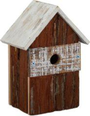 Relaxdays decoratie vogelhuisje - vogelhuis hout - decoratieve nestkast - tuindecoratie