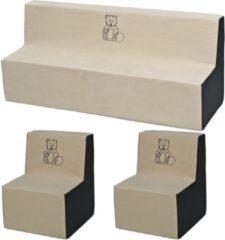Go Go Momi Zachte Foam meubels borduurwerk set: 2xbank + Bank voor kinderen, kinderen, comfortabel, ontspannen - beige en grijs