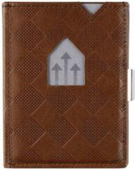 Bruine Exentri Leather Wallet RFID hazelnut chess Dames portemonnee