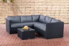 CLP Poly-Rattan Lounge-Set GENERO 5mm l Garten-Set mit 5 Sitzplätzen l Garnitur mit Aluminium-Gestell l Komplett-Set bestehend aus: 3er Sofa + 2er Sof