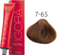 Rode Schwarzkopf Professional Schwarzkopf - Igora - Royal - 7-65 Middelblond Roodbruin Goud - 60 ml