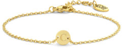 CO88 Collection Alphabet 8CB 90617 Stalen schakel armband - 1,5 mm - bedel rond met letter C - 7mm - 19,5 cm - goudkleurig