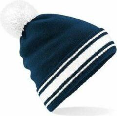 Blauwe Beechfield Navy/witte beanie muts met pompon voor dames