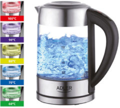 Zilveren Adler AD 1247 NEW Kettle, Electronic control, Glass, 1.7 L, 2200, Stainless steel/Transparent
