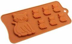 Bruine Leukste Winkeltje Chocoladevorm Kat / Poes siliconen vorm voor ijsblokjes chocolade fondant - LeuksteWinkeltje