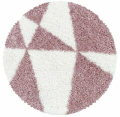 TANGO SHAGGY Himalaya Maxima Soft Shaggy Rond Hoogpolig Vloerkleed Roze / Wit- 120 CM ROND