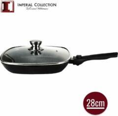 Zwarte Imperial Collection: Grillpan van Gietijzer met Marmercoating en Deksel - ⌀ 28cm - Afneembaar Handvat - Grillpan met Deksel - Inductie Grillpan - PFOA / LOOD-vrij