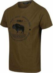 Donkergroene Regatta T-shirt Cline Iv Graphic Heren Katoen Legergroen Maat S