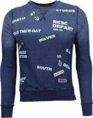 Bread & Buttons Crew Text Borduur - Sweater - Blauw Heren Sweater M
