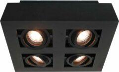 Artdelight Boscagli Opbouwspot 4 lichts vierkant zwart 25x25cm - Design - 2 jaar garantie
