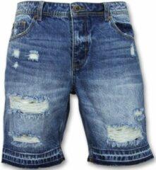 Enos Korte Spijkerbroek Mannen - Shorts Heren Sale - J965 - Blauw Korte Broek Short Jeans Maat W30