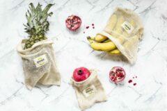 Witte Sakwabag Groente & Fruit zak - Biologisch katoen - 3 x 3 stuks - Maat S, M & L