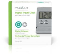 Nedis Digitale Bureau-Wekker | Verlicht LCD-Scherm | 1.7 cm | Achtergrondverlichting | Opvouwbaar | Snoozefunctie | Zilver