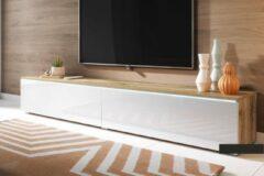 Maison Woonstore Maison's Tv meubel – Tv Kast meubel – Tv meubel – Tv Meubels – Tv meubels Wotan Oak – Eiken bruin – Bruin – Wit – Kane – Led verlichting – 180x30x33