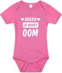 Bellatio Decorations Hoera je wordt oom tekst baby rompertje roze meisjes - Kraamcadeau - Babykleding 80 (9-12 maanden)