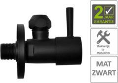 """Boss & Wessing BWS Hoekstopkraan Mika Minimaal 3/8""""x10 Inclusief Rozet Mat Zwart"""