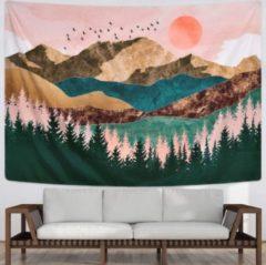 Roze Ulticool - Natuur Zon Bergen Bohemian - Wandkleed - 200x150 cm - Groot wandtapijt - Poster - Bruin