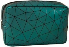 Fashion Favorite Toilettas Geometric Groen - Klein   Kunstleer / Polyester   20,5 x 13 x 6,5 cm